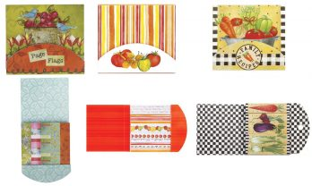 C.R Gibson Cookbook Page Flag Set-Farmers Mkt-Heirloom Tomatoes-Joyful Abundance