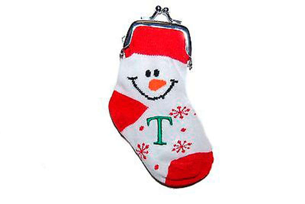 Baby Boy Gifts Christmas : Ganz christmas snowman boy or girl initial sock coin