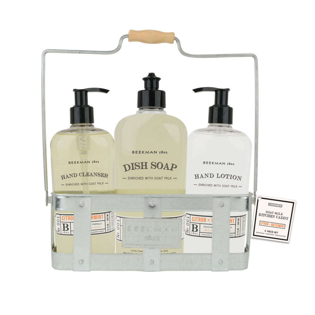 Beekman 1802 hand cleanser lotion dish soap caddy set Hand wash and lotion caddy