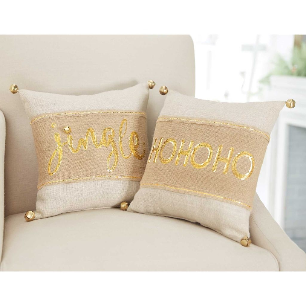 Mud Pie MH6 Glitter Christmas Home Decor Burlap Gold Sequin Pillow Wrap 4165026 eBay
