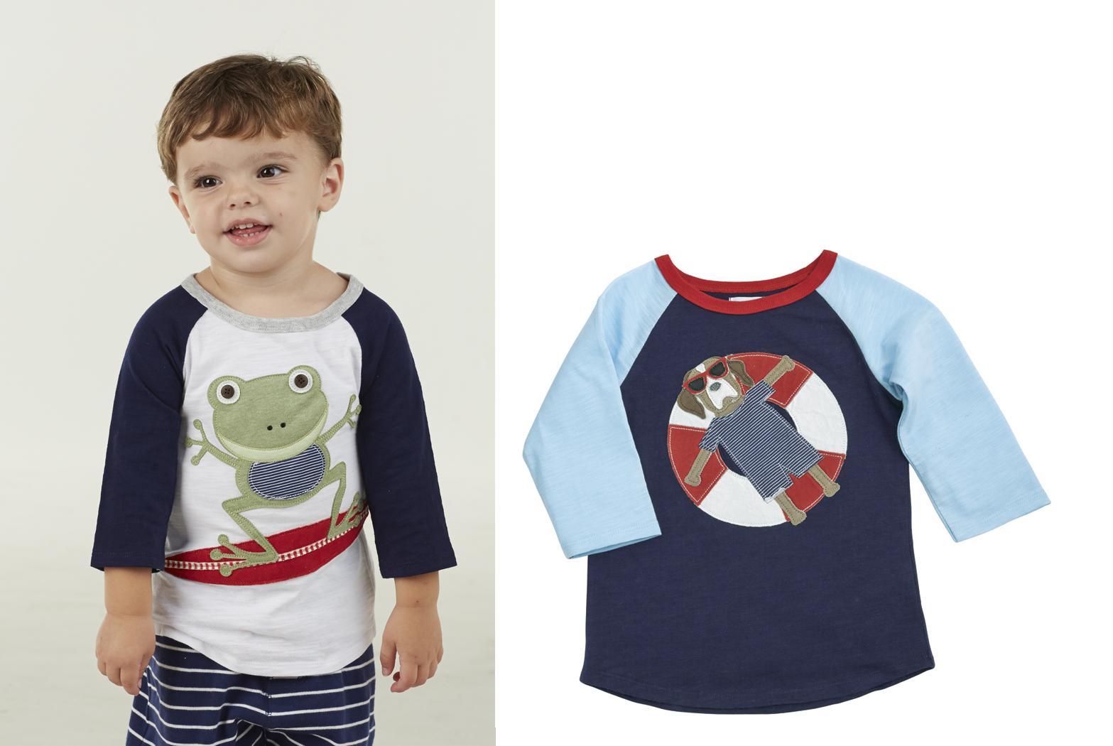 Mud Pie E7 Marco Polo Boy Baby Toddler Frog Or Puppy Raglan T-Shirt ...