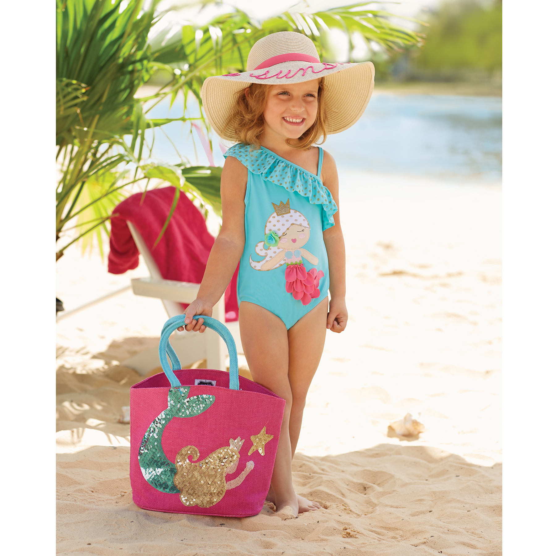 d1f9d2b0d1 Mud Pie E7 Baby Toddler Girl Blue Mermaid One Piece Swim Suit ...