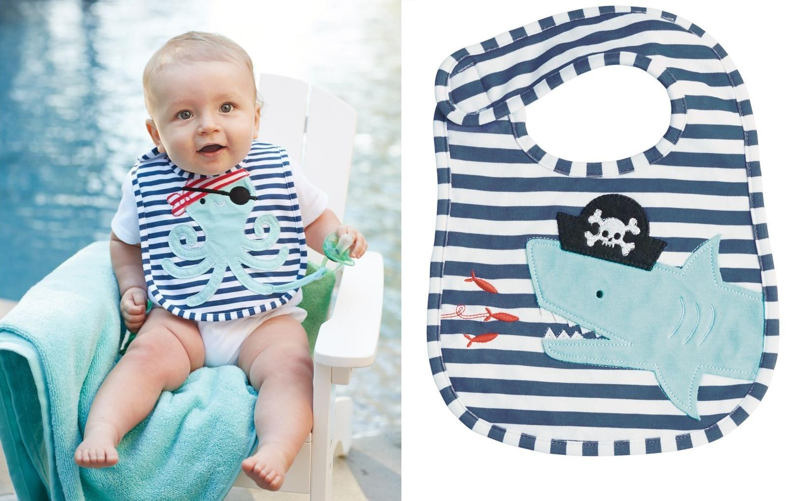 1a5473238 Mud Pie E7 Boy Baby Applique Feeding Bib – Pirate Shark & Octopus 1552280