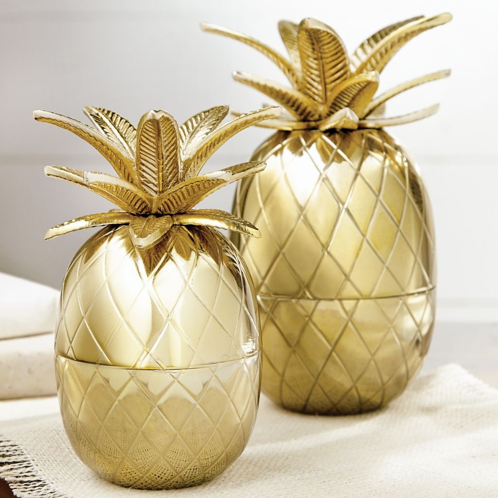Mud Pie ML7 Home Decor 6 In Small Gold Pineapple Table