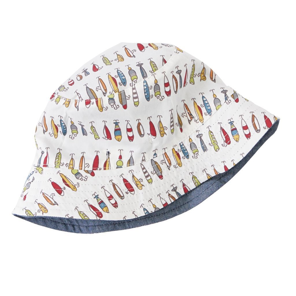 Mud pie e7 gone fishing baby boy fish lure reversible for Fishing apparel hats