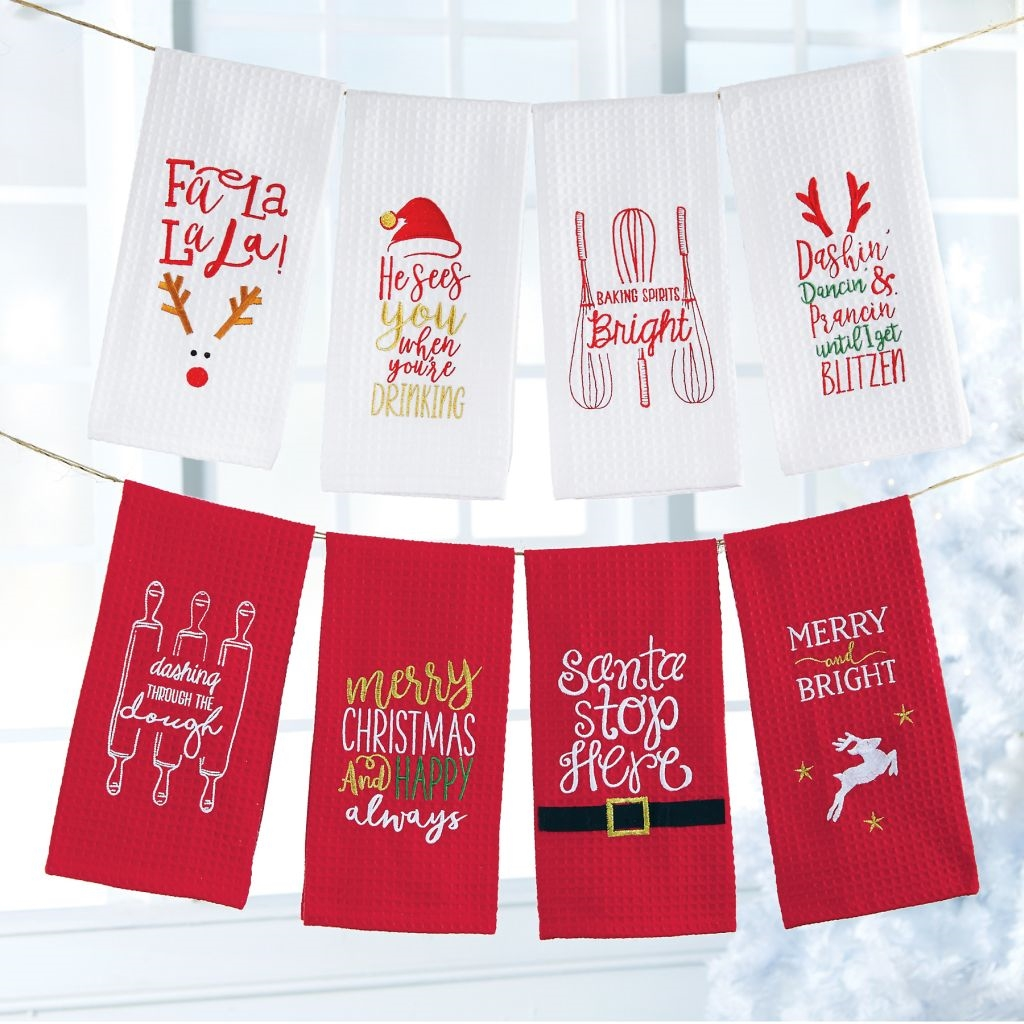 Mud Pie H7 Christmas Kitchen 26x16in Waffle Hand Towel