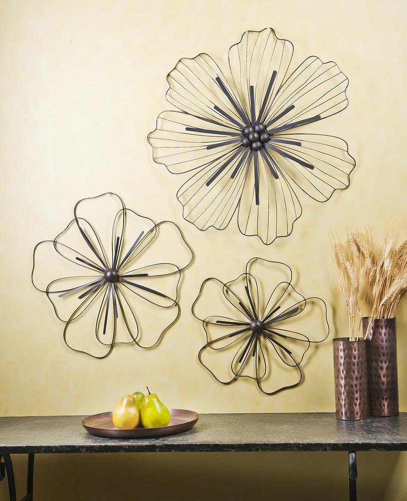Ganz E8 Home & Garden Art Decor Metal Flowers Wall Decor 3 Pieces ...