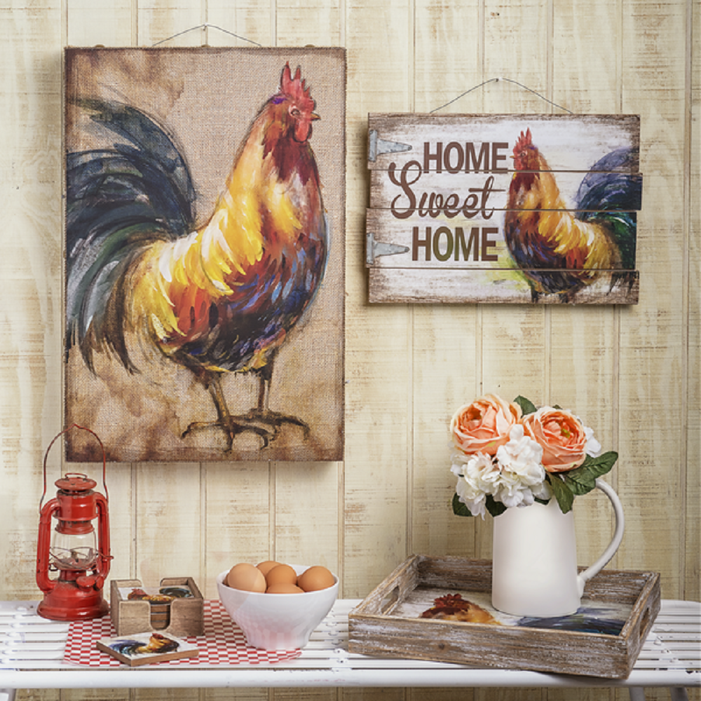 Ganz e8 home garden art decor 13x11in rooster wall for Rooster home decor