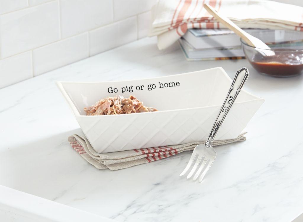 Mud Pie E8 Circa Kitchen Dining BBQ Barbecue Bowl U0026 Fork Serving Set 4071167