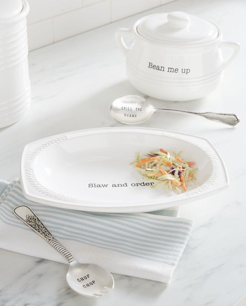 Mud Pie E8 Circa Dining Ceramic Slaw Serving Dish u0026 Spork Set 4601088 & Mud Pie E8 Circa Dining Ceramic Slaw Serving Dish u0026 Spork Set ...