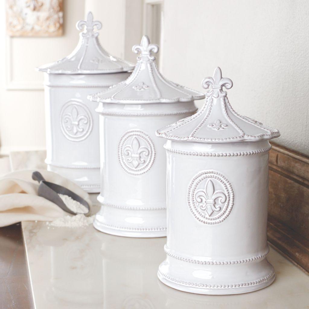 superb Fleur De Lis Cannister Part - 3: Mud Pie Kitchen White Terracotta Fleur De Lis Canister Set 4934003D DEFECT