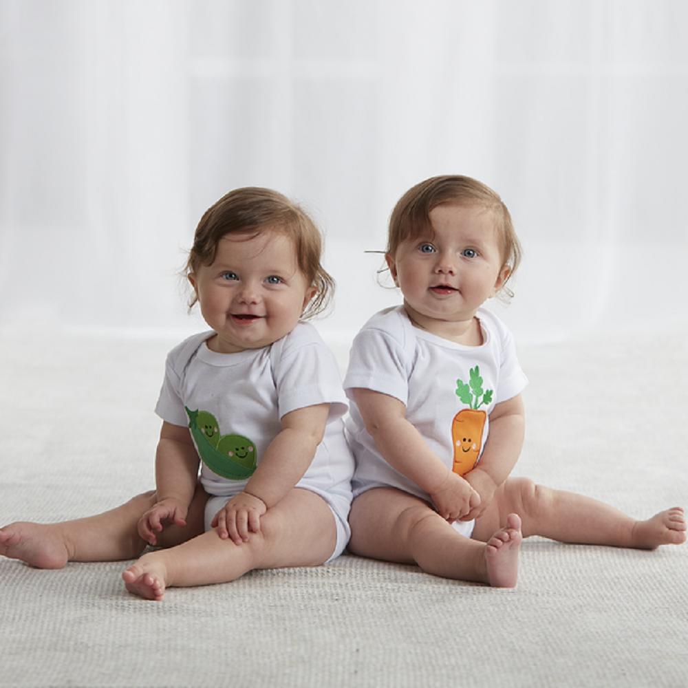 d8c7f7aaa Ganz E8 Baby Boy Girl 3-6m Twins Peas & Carrots Diaper Shirt 2pc Set ...