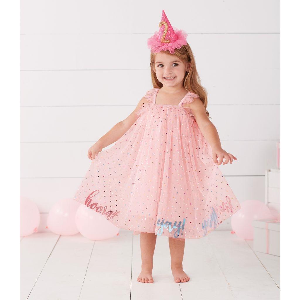 2cdedcf8e Mud Pie E8 Birthday Baby Toddler Girl Yay Party 12M-5T Poplin Pink ...
