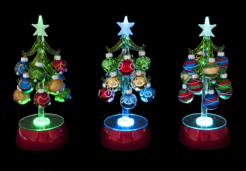 ganz h8 blown glass light up christmas tree 8in figurine w ornaments choose