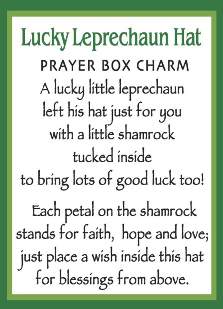 Ganz E9 Saint Patrick Lucky Leprechaun Hat Zinc Prayer Box Charm W/ Story  Card
