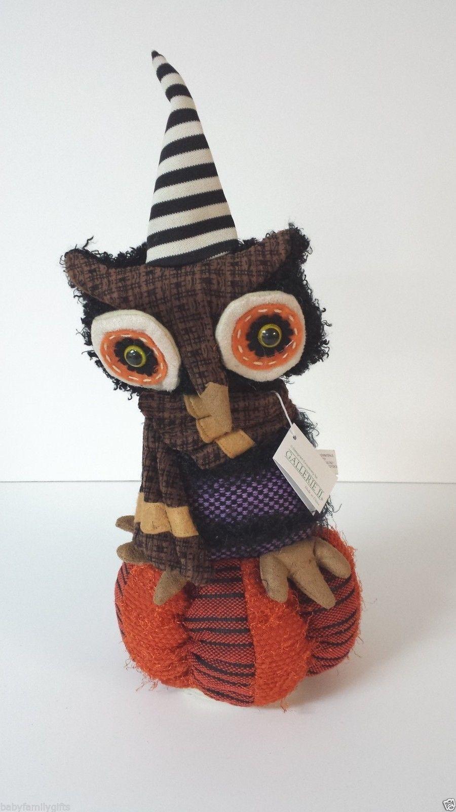 C and F Halloween Musical Turning Owl On Pumpkin Door  ~ 102409_Halloween Owl Door Hanger