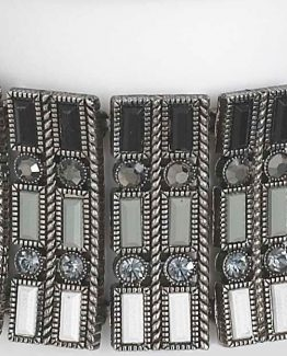 Ganz-Womens-Jewelry-Black-Grey-And-White-Beaded-Rhinestone-Bracelet-ER23721-291053272776