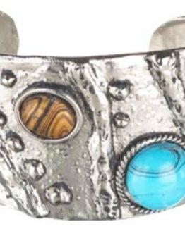 Ganz-Womens-Jewelry-Silver-With-Turquoise-Brown-Stones-Cuff-Bracelet-ER25451-301096756561