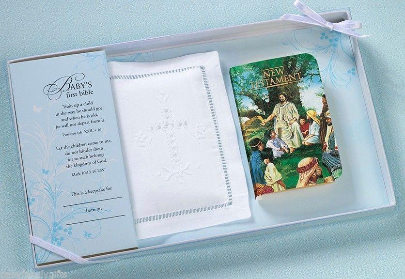 Lillian Rose Baby Keepsake White Bible Wcotton Cover Set 24co820