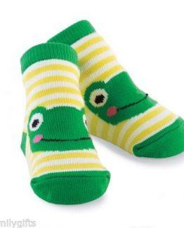 Mud-Pie-Baby-Boy-Cute-Yellow-White-Striped-Green-Frog-Shoe-Socks-0-12Mo-178518-300869796264