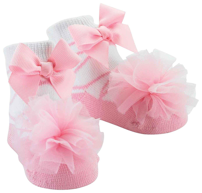 Mud Pie E8 Princess Ballerina Baby Girl Pink Tulle Puff Socks 0 12