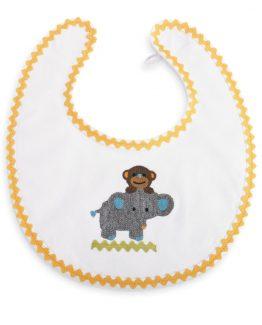 Mud-Pie-Baby-Unisex-BoyGirl-Safari-Cotton-Crochet-Monkey-Elephant-Bib-352173-290885154601