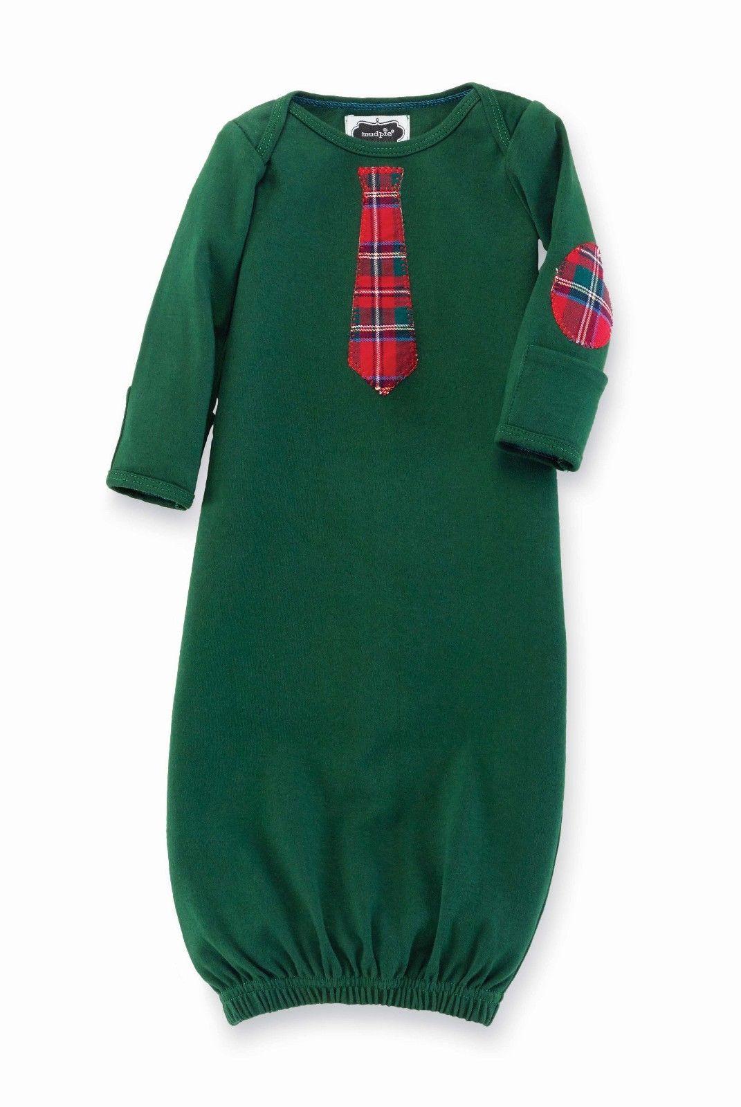 Mud Pie Christmas Holiday Best Baby Boy Plaid Necktie Sleep Gown ...