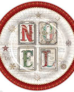 Punch-Studio-Holiday-Christmas-Dinner-Paper-Plates-Red-Green-Noel-43235-291002367091
