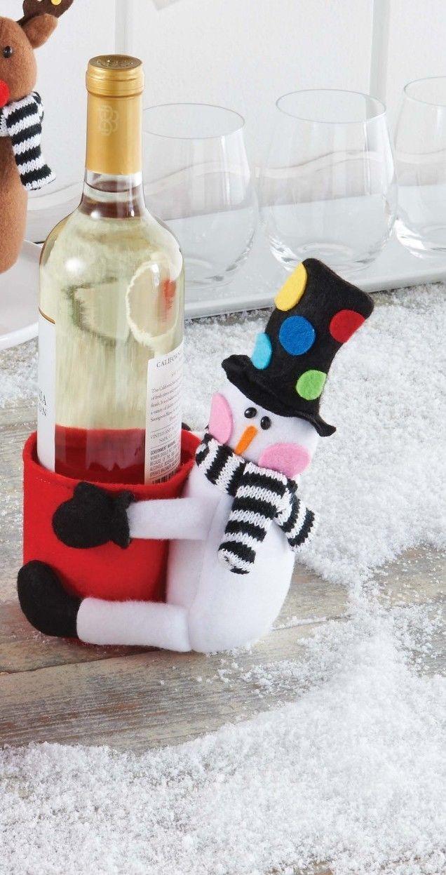 Mud Pie Christmas Santa & Co Kitchen Wine Bottle Decor / Gift Holder ...