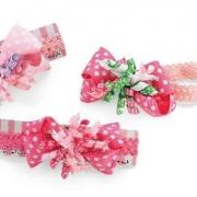Mud Pie Baby Girl Hair Accessories Corker Bow Soft Headbands Set of 3