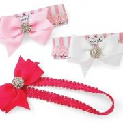 Mud Pie Pretty in Pink Jeweled Bow Soft Headband (3 Asst)