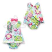 Mud Pie Lily Pad Girl Pinafore and Bloomer Set (9-12M)