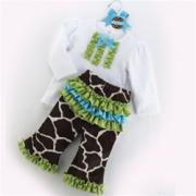 Mud Pie Wild Child Girl Giraffe 2-Piece Pant Set (12-18M)