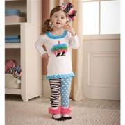 Mud Pie Wild Child Girl Zebra Tunic and Tight Set (2T-3T)
