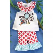 Mud Pie Safari Monkey Tunic and Capri Legging Set (12-18M)