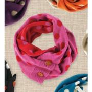 Mud Pie Bundled Up Azalea/Ruby Dot Convertible Infinity Scarf-850127