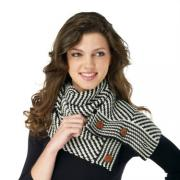 Mud Pie Winter Warm-Up Black/Pearl Herringbone Convertible Infinity Scarf 850124