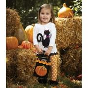 Mud Pie Baby Girl Trick or Treat Cat Tunic and Tight Set(0-6M)-350001