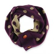 Mud Pie Bundled Up Eggplant/Oatmeal Dot Convertible Infinity Scarf-850131