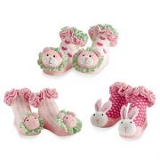Mud Pie Little Chick Pink Plush Rattle Socks 3 Asst. (0-12M) - 176107