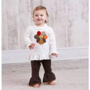Mud Pie Give Thanks Baby Girl Turkey Tunic and Legging (9-12M)-352012